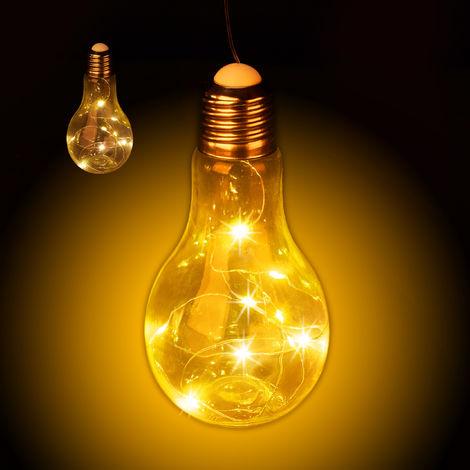 Set de dos bombillas LED decorativa, Colgante, Iluminación a pilas, Inalámbrica, Transparente