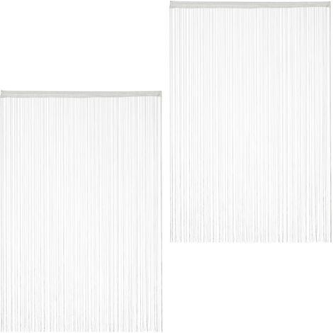 Set de dos cortinas de hilos, Para cortar, Con pasador, Para puertas y ventanas, 145x245 cm, Blanca