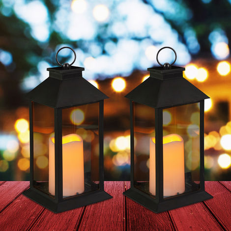 Set de dos faroles LED de jardín, Vela con efecto de llama, Iluminación de exterior, Colgante o de pie, 30 cm, Negro