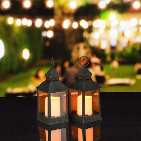 Set de dos faroles LED de jardín, Vela con efecto de llamas, Iluminación de exterior, Colgante o de pie, 23 cm, Negro