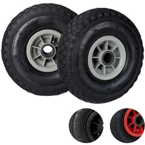 Set de dos ruedas de carretilla, 3.00-4, Neumático de goma, Llanta de plástico, Eje de 25 mm, 260x85 mm, Negro-gris