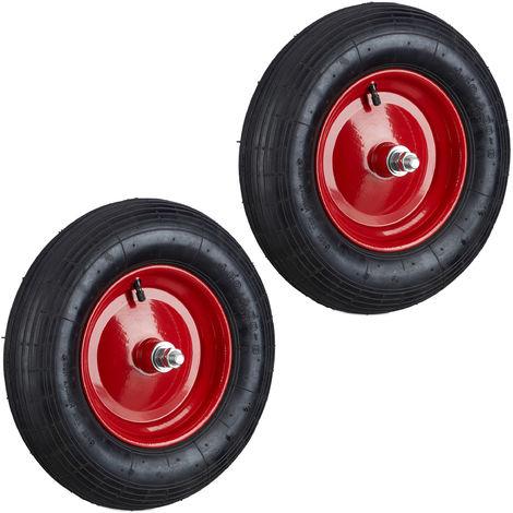 Set de dos ruedas de carretilla, 4.80 4.00-8, Capacidad de 120kg, Neumáticos de goma con eje, Negro-rojo