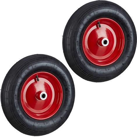 Set de dos ruedas de carretilla, 4.80 4.00-8, Capacidad de 120kg, Neumáticos de goma con válvula, Negro-rojo