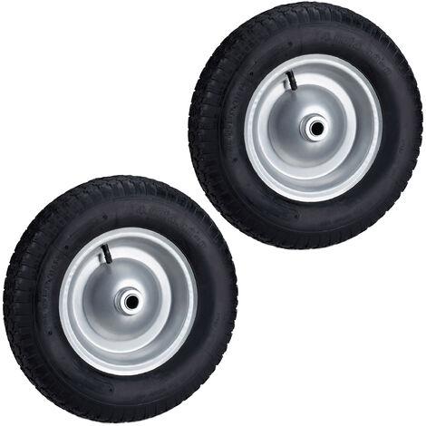 Set de dos ruedas de carretilla, 4.80 4.00-8, Capacidad de 200kg, Neumáticos de goma con llanta de acero, Negro-gris