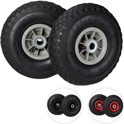 Set de dos ruedas de carretilla, Neumáticos de 3.00-4, Hasta 80kg, Llanta de plástico, 260x85 mm, Negro y gris