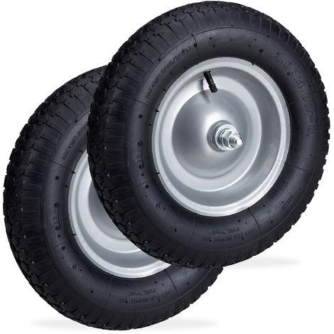 Set de dos ruedas de carretilla, Neumáticos de recambio con eje, Llanta de acero, 120 kg, Negro