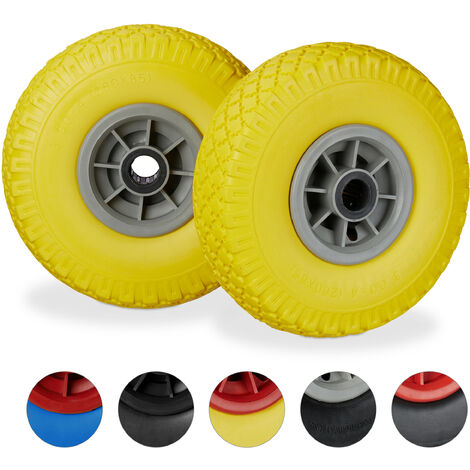"Set de dos ruedas de carretilla, Resistente a golpes, 3.00-4"", Eje 25mm, Hasta 80 kg, 260x85 mm, Amarillo-gris"