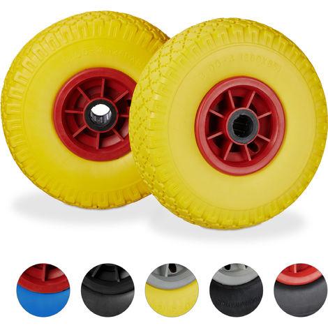"Set de dos ruedas de carretilla, Resistente a golpes, 3.00-4"", Eje 25mm, Hasta 80 kg, 260x85 mm, Amarillo-rojo"