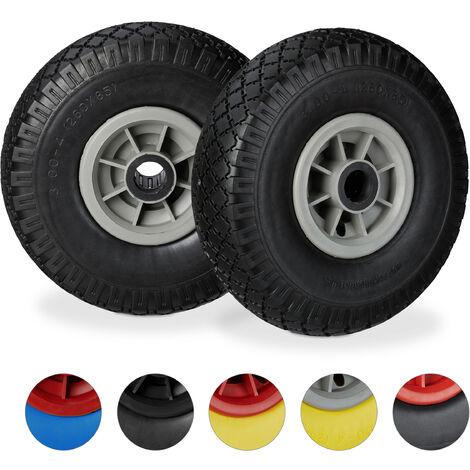 """Set de dos ruedas de carretilla, Resistente a golpes, 3.00-4"""", Eje 25mm, Hasta 80 kg, 260x85 mm, Negro-gris"""