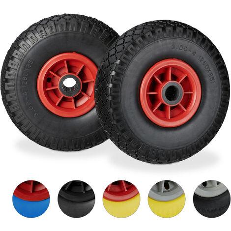 """Set de dos ruedas de carretilla, Resistente a golpes, 3.00-4"""", Eje 25mm, Hasta 80 kg, 260x85 mm, Negro-rojo"""