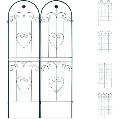Set de dos soportes para enredaderas, Enrejado metálico, Arco con flor y corazón, 180 x 50 cm, Verde oscuro
