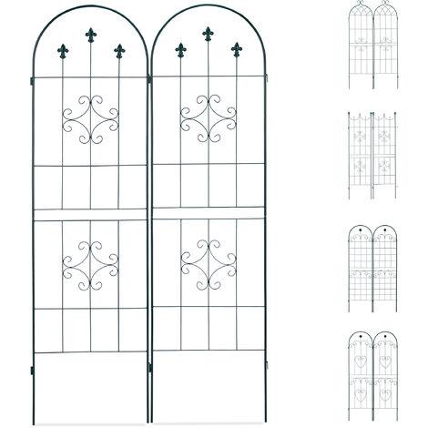 Set de dos soportes para enredaderas, Enrejado metálico, Arco con punta, 180 x 50 cm, Verde oscuro