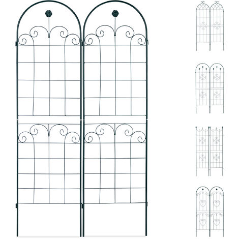 Set de dos soportes para enredaderas, Enrejado metálico, Arco y flor, 180 x 50 cm, Verde oscuro