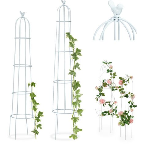 Set de dos soportes para trepadoras, Con pájaro, 113 x 103 cm, Blanco