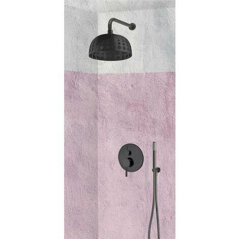 Set de douche encastrable complet mural mécanique noir avec tuyauterie SASSARI