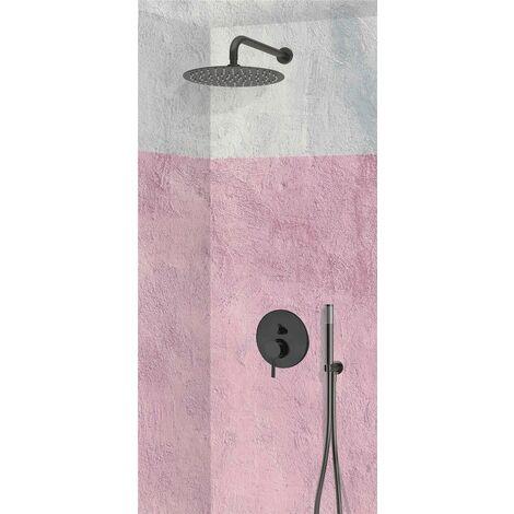 Set de douche encastrable complet mural mécanique noir avec tuyauterie TRENTO + NOIR