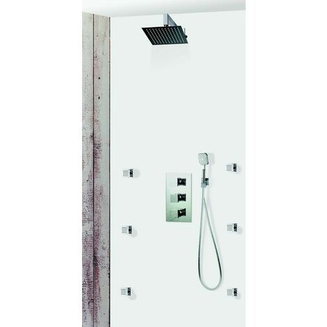 Set de douche encastrable complet mural thermostatique avec tuyauterie, hydromassage 6 Buses PINEROLO