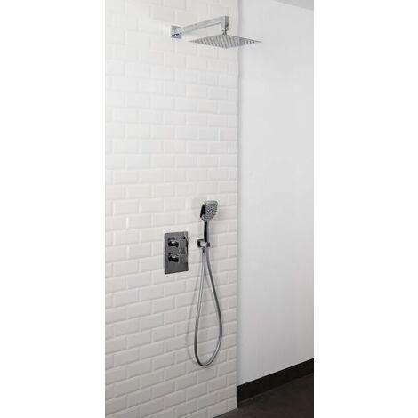 Set de douche encastrable complet mural thermostatique avec tuyauterie TOCKIA