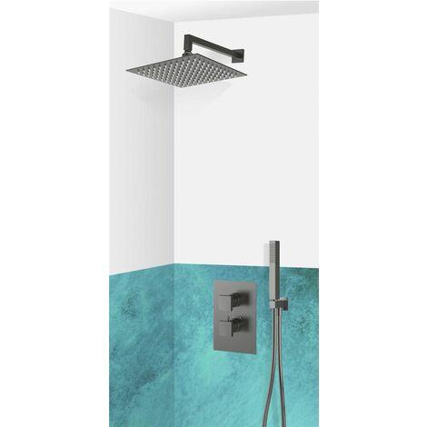 Set de douche encastrable complet mural thermostatique noir avec tuyauterie LIVOURNO