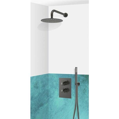 Set de douche encastrable complet mural thermostatique noir avec tuyauterie PERUGIA