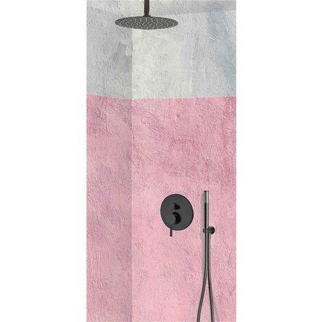 Set de douche encastrable complet plafond mécanique avec tuyauterie, Noir MOHANO + NOIR