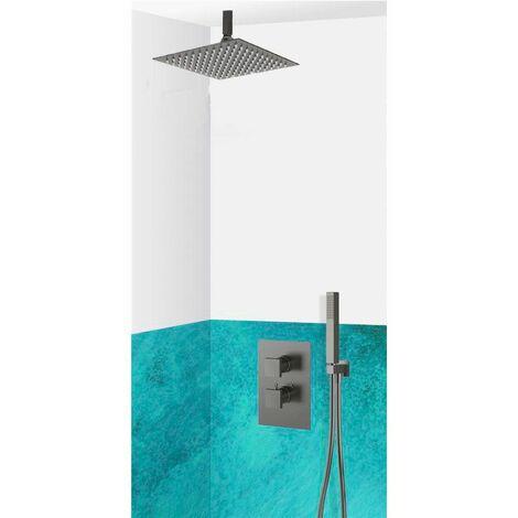 Set de douche encastrable complet plafond thermostatique avec tuyauterie, Noir ALESSANDRIA