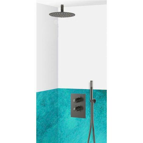 Set de douche encastrable complet plafond thermostatique avec tuyauterie, Noir VARESE