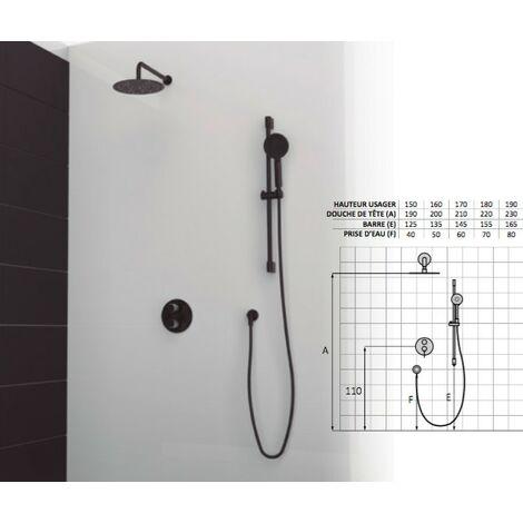Set de douche mitigeur 2 voies finition noir
