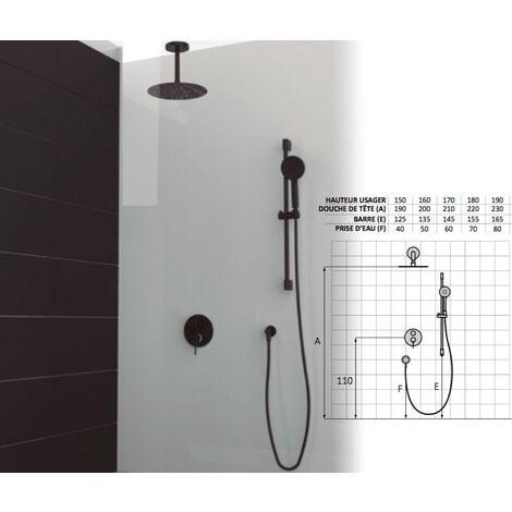 Set de douche mitigeur 3 voies finition noir
