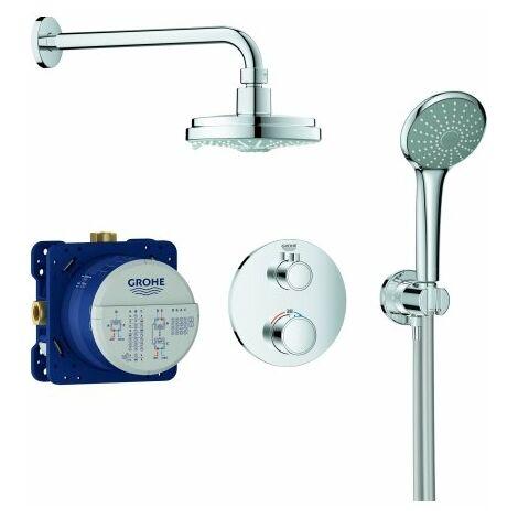 Système de douche encastré Grohe Grohtherm avec Rainshower Cosmopolitan 160, inverseur 2 voies intégré, 2 consommateurs, chromé - 34735000