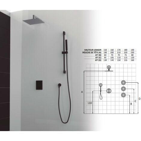 Set de douche thermostatique 3 finition noir