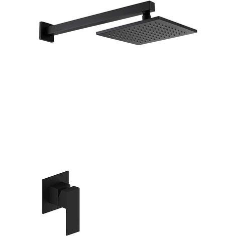 Set de ducha cuadrado negro empotrado