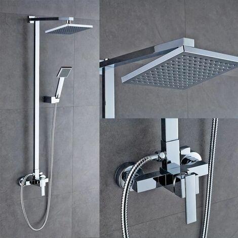 Set de ducha Sistema de ducha montado en la pared Columna sólida Duchas de mano Grifo de baño Latón cromado