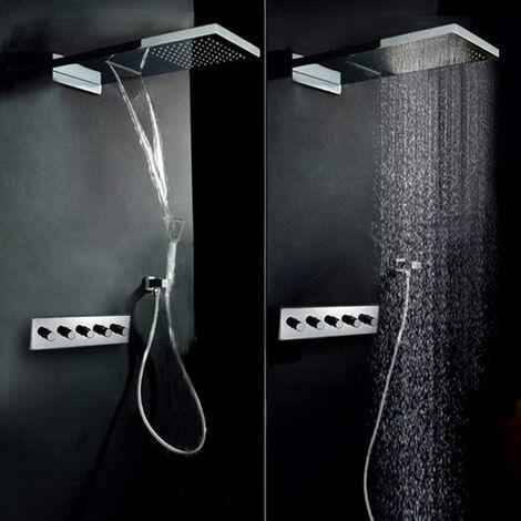 Set de ducha termostática con mezclador y rociador con lluvia en cascada