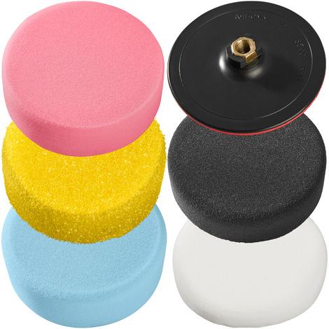 Set de esponjas pulidoras 150mm con plato de rotación - 6 piezas - esponjas para pulidora profesional, set de accesorios para pulir para máquina pulidora, disco de rotación para pulido con velcro - Varios colores