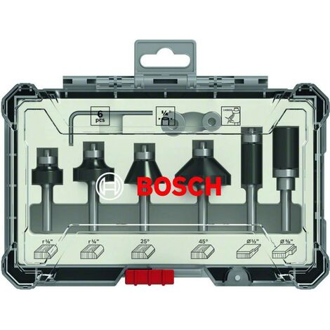 Set de fraises Trim&Edging Bosch, 6 pièces, queue ¼ Bosch Accessories 2607017470 6 pc(s)