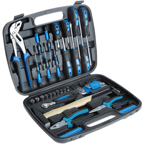 Set de herramientas - juego de herramientas con maletín, kit de herramientas de acero con maleta ligera, caja de herramientas para taller - negro