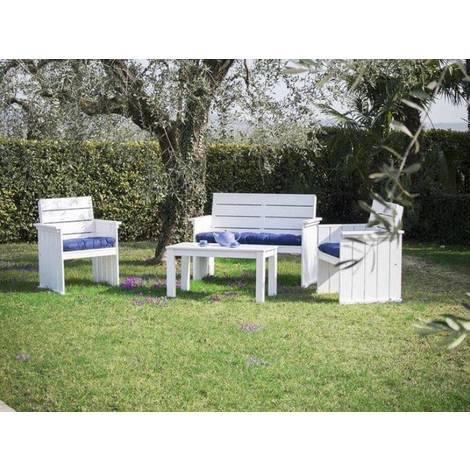 Set de Jardin en Bois de Pin Dolomiti | Blanc - 616921