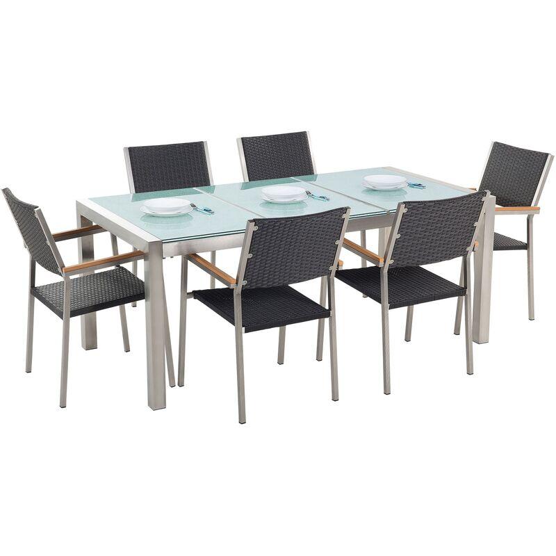 Beliani - Set de jardin en rotin avec plateau en verre et 6 chaises 180 cm GROSSETO