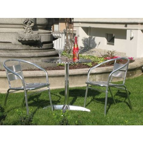 Set de jardin Table + 2 Chaises en aluminium | aluminium
