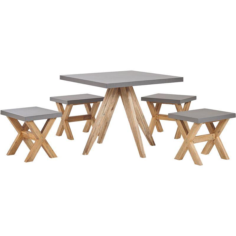 Beliani - Set de jardin table carrée et 4 tabourets en fibre-ciment gris et bois OLBIA