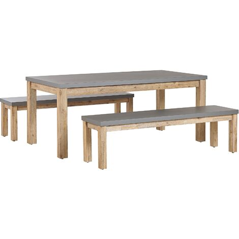 Set de jardin table et 2 bancs gris en fibre-ciment et bois OSTUNI