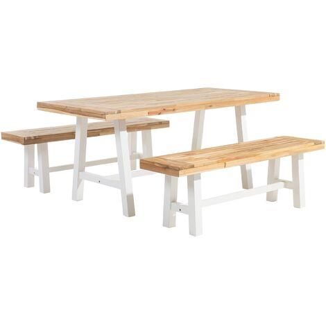 Set de jardin table et bancs en bois avec pieds blancs SCANIA