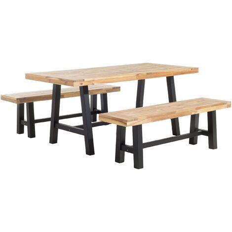 Set de jardin table et bancs en bois avec pieds noirs SCANIA