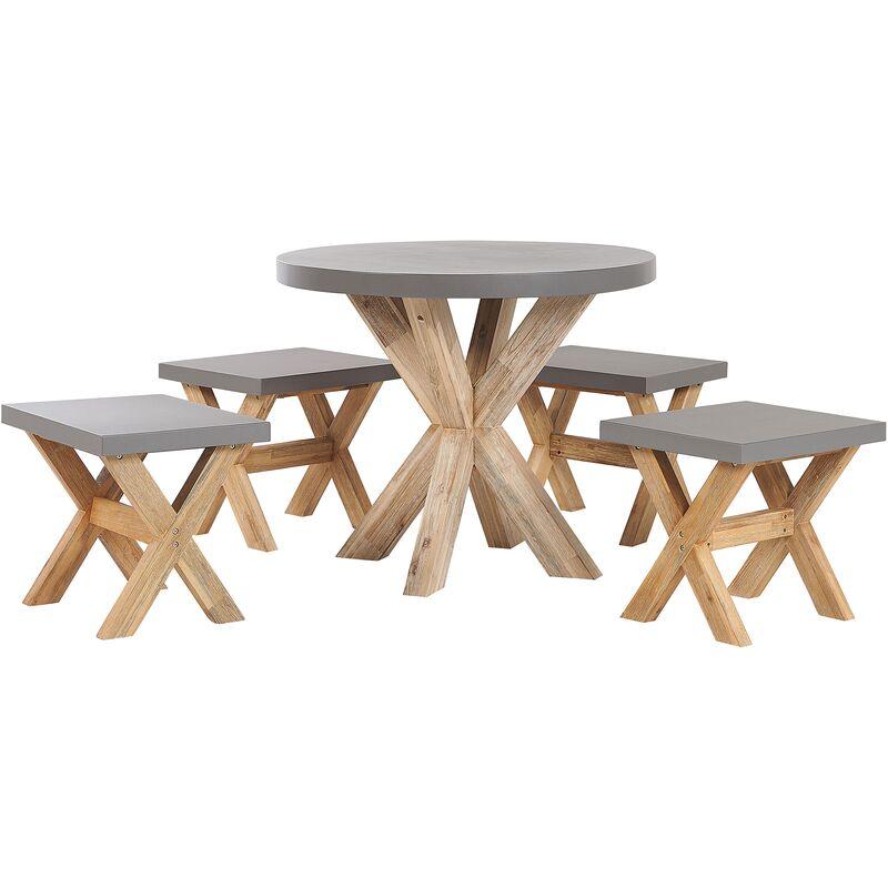 Set de jardin table ronde et 4 tabourets en fibre-ciment gris et bois OLBIA