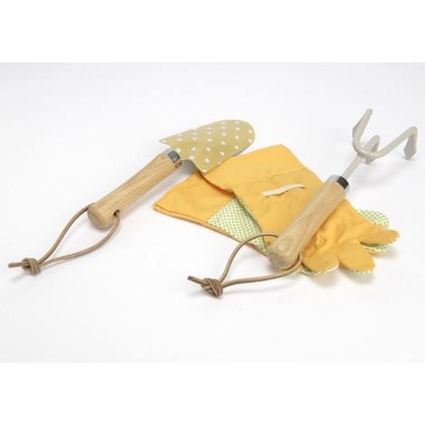 Set de jardinage, pelle, ràteau, une paire de gant, moutarde