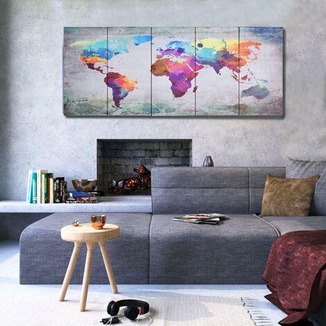 Set de lienzo para pared mapamundi multicolor 150x60 cm