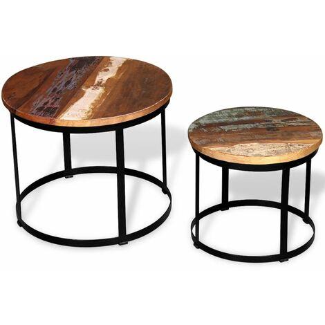 Set de mesa de centro 2 uds redondo madera reciclada 40 cm/50cm