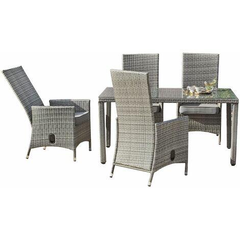 Set de mesa de comedor con 4 sillones reclinables y 4 cojines Hevea ...