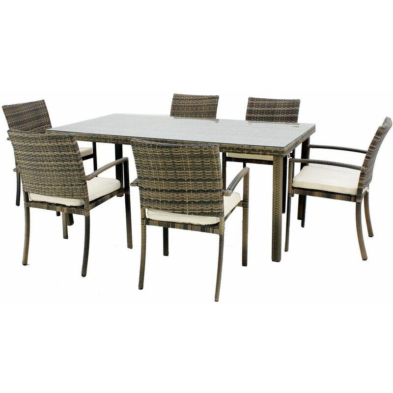 Set de mesa de comedor con 6 sillones y 6 cojines Hevea Abasari-180 ...